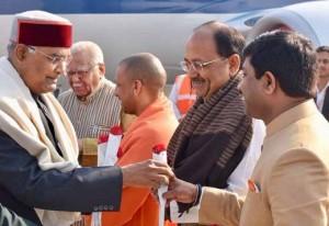 राष्ट्रपति रामनाथ कोविंद गंगा पूजन के लिए प्रयागराज पहुंचे